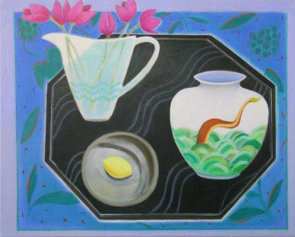 Tulips, Lemon and Dragon Vase, Janet Tod, Oil on Linen, 61 x 91 cm